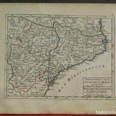 Arte: MAPA DE ARAGÓN Y CATALUÑA (ESPAÑA), 1748. ROBERT DE VAUGONDY. Lote 156641721