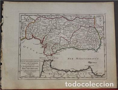 Arte: Mapa de Andalucía (España), 1748. Robert de Vaugondy - Foto 2 - 156643418