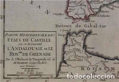 Arte: Mapa de Andalucía (España), 1748. Robert de Vaugondy - Foto 3 - 156643418
