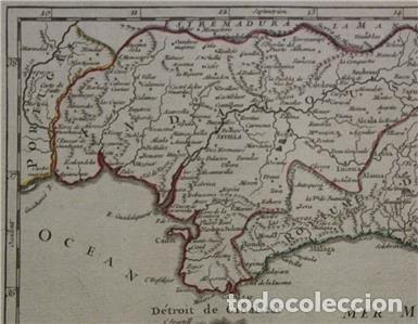 Arte: Mapa de Andalucía (España), 1748. Robert de Vaugondy - Foto 4 - 156643418