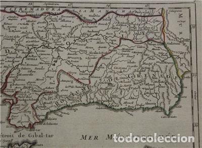 Arte: Mapa de Andalucía (España), 1748. Robert de Vaugondy - Foto 5 - 156643418