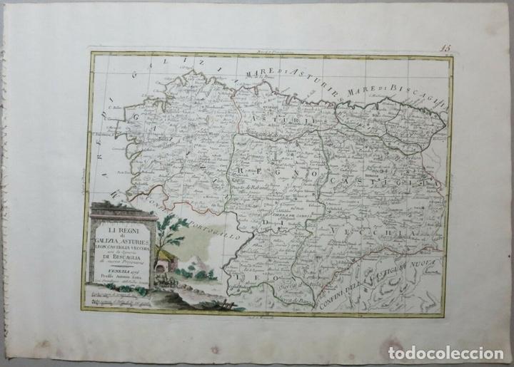 Arte: Mapa de Galicia, Asturias, Cantabria, Pais Vasco, .... (España), 1776. Antonio Zatta - Foto 2 - 156969512