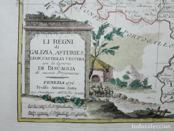 Arte: Mapa de Galicia, Asturias, Cantabria, Pais Vasco, .... (España), 1776. Antonio Zatta - Foto 3 - 156969512