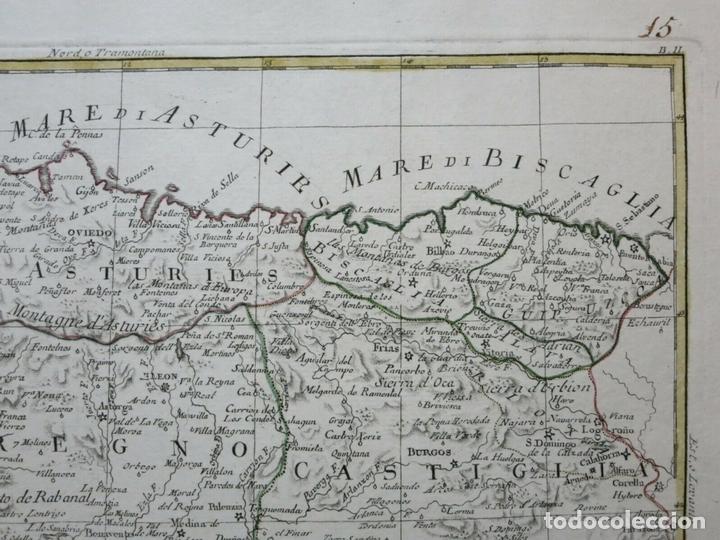 Arte: Mapa de Galicia, Asturias, Cantabria, Pais Vasco, .... (España), 1776. Antonio Zatta - Foto 6 - 156969512