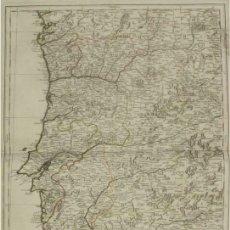 Arte: GRAN MAPA DE PORTUGAL Y OESTE DE ESPAÑA, 1762. LONGSCHAMPS. Lote 157695020