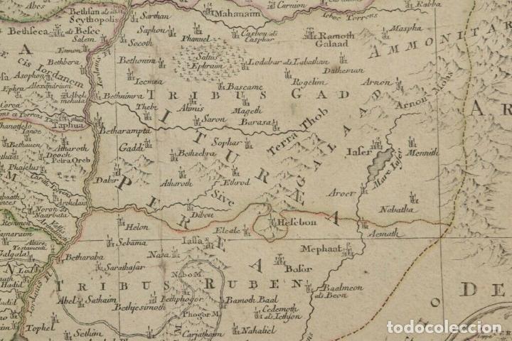 Arte: ANTIGUO RARO Y MAGNIFICO MAPA ,graba sagrado palestina Tobias lotter,AÑO 1820 DIM 52x62.5 cm 1.160.e - Foto 6 - 157745626