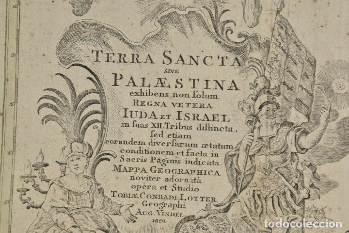Arte: ANTIGUO RARO Y MAGNIFICO MAPA ,graba sagrado palestina Tobias lotter,AÑO 1820 DIM 52x62.5 cm 1.160.e - Foto 7 - 157745626