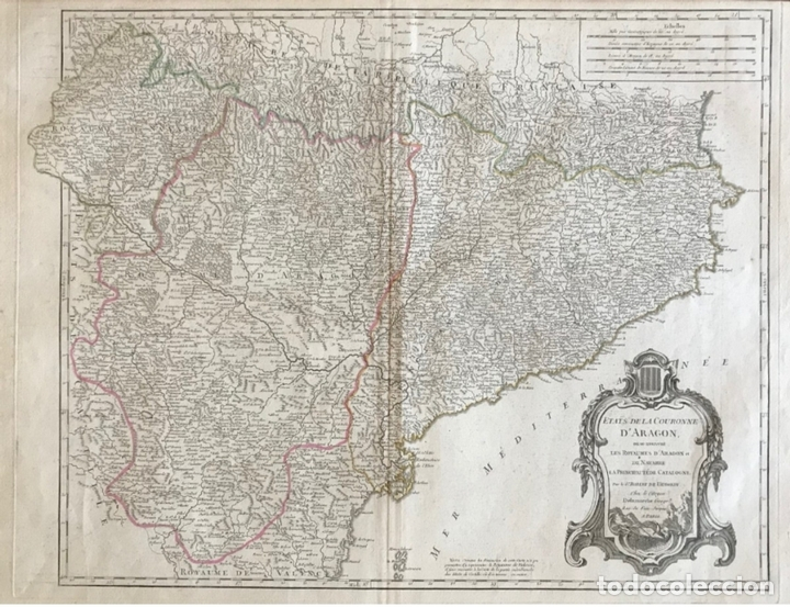 GRAN MAPA DE CATALUÑA, ARAGÓN Y NAVARRA (ESPAÑA), HACIA 1752. ROBERT DE VAUGONDY/DELAMARCHE (Arte - Cartografía Antigua (hasta S. XIX))