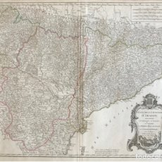 Arte: GRAN MAPA DE CATALUÑA, ARAGÓN Y NAVARRA (ESPAÑA), HACIA 1752. ROBERT DE VAUGONDY/DELAMARCHE. Lote 157914650