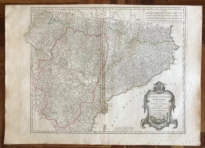 Arte: Gran mapa de Cataluña, Aragón y Navarra (España), hacia 1752. Robert de Vaugondy/Delamarche - Foto 2 - 157914650