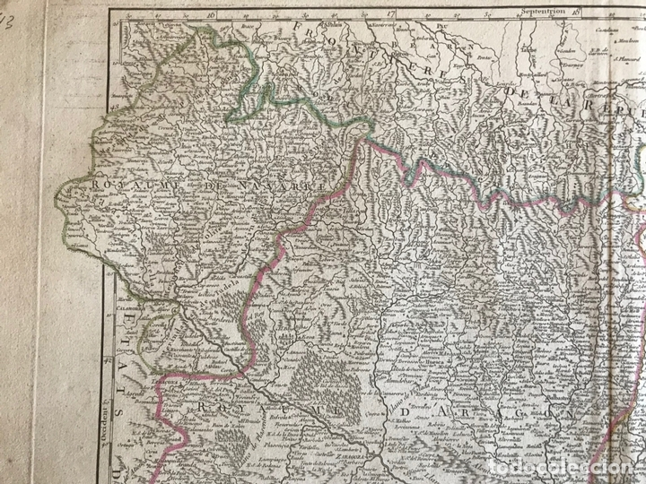 Arte: Gran mapa de Cataluña, Aragón y Navarra (España), hacia 1752. Robert de Vaugondy/Delamarche - Foto 4 - 157914650