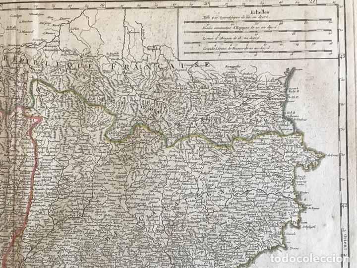 Arte: Gran mapa de Cataluña, Aragón y Navarra (España), hacia 1752. Robert de Vaugondy/Delamarche - Foto 5 - 157914650