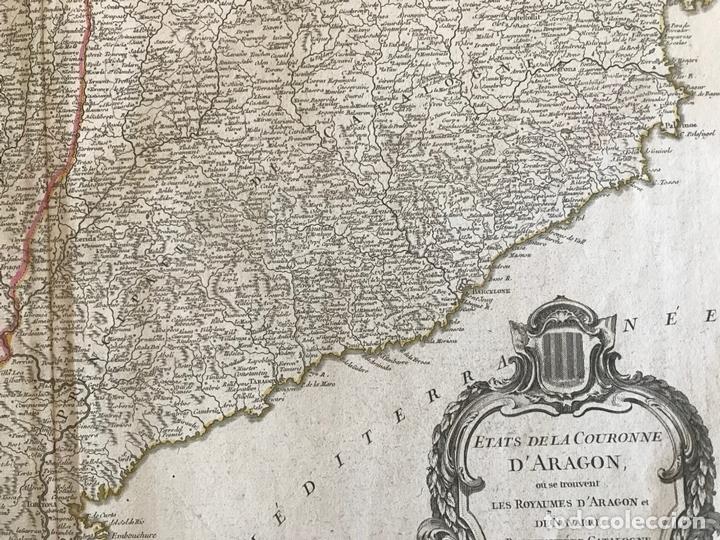 Arte: Gran mapa de Cataluña, Aragón y Navarra (España), hacia 1752. Robert de Vaugondy/Delamarche - Foto 7 - 157914650