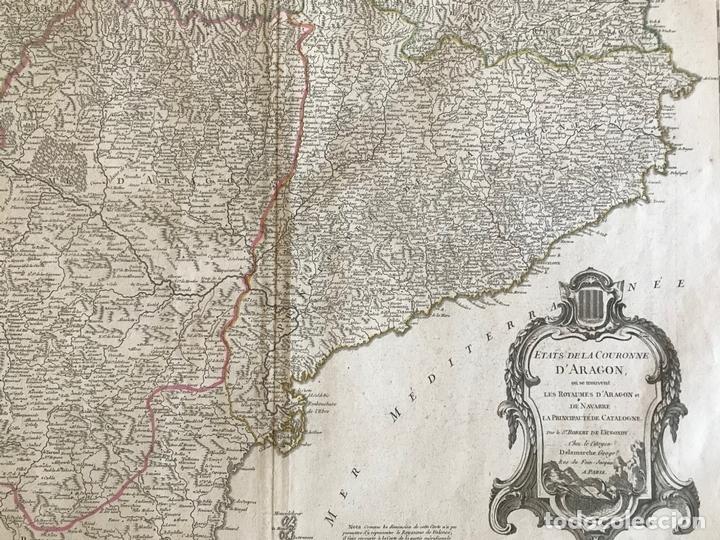 Arte: Gran mapa de Cataluña, Aragón y Navarra (España), hacia 1752. Robert de Vaugondy/Delamarche - Foto 11 - 157914650