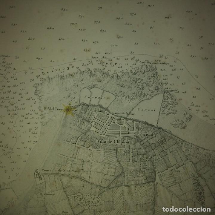 1875 Sanlúcar de Barrameda. Cádiz. Plano de la barra y del fondadero de Bonanza D. José Montojo Mapa - 157974010