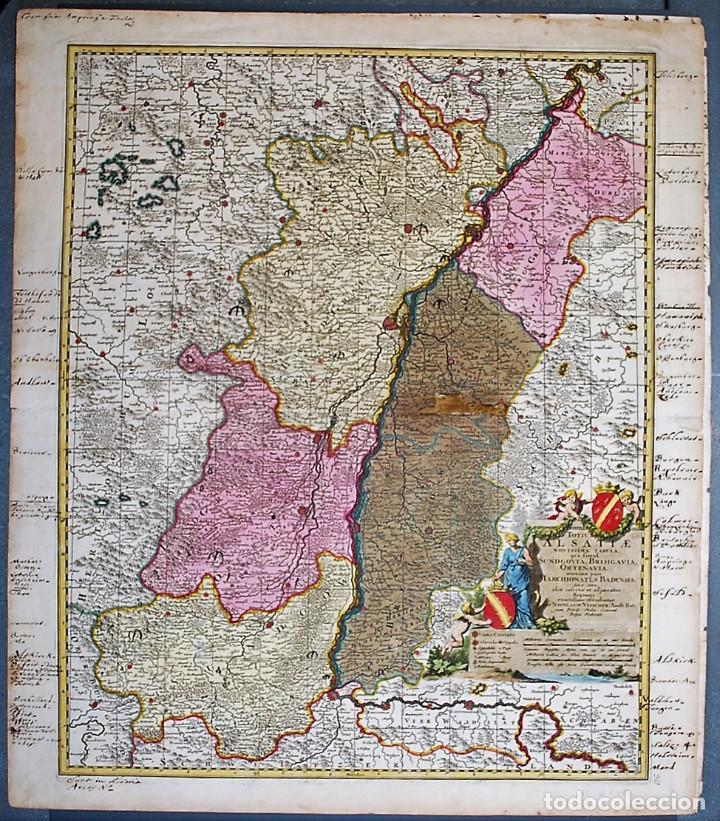 TOTIUS ALSATIAE NOVISSIMA TABULA, QUA SIMUL SUNDGOVIA, BRISIGAVIA, .... VISSCHER, NICOLAS (Arte - Cartografía Antigua (hasta S. XIX))