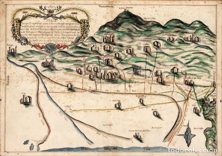 RARO MAPA DE L'HOSPITALET DE LLOBREGAT DE APROXIMADAMENTE EL AÑO 1600 - REPRODUCCIÓN FACSIMIL (Arte - Cartografía Antigua (hasta S. XIX))
