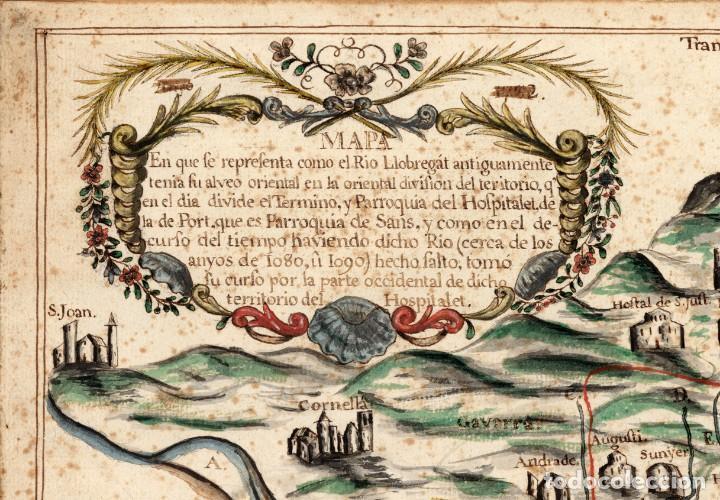 Arte: Raro Mapa de LHospitalet de Llobregat de aproximadamente el año 1600 - Reproducción facsimil - Foto 2 - 158223334