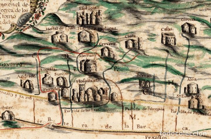 Arte: Raro Mapa de LHospitalet de Llobregat de aproximadamente el año 1600 - Reproducción facsimil - Foto 3 - 158223334