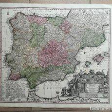 Arte: MAPA DE ESPAÑA Y PORTUGAL - SEUTTER - AÑO 1742 - ES ORIGINAL. Lote 158262202