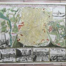 Arte: MAPA GRABADO VISTAS DE MADRID - HOMANN- AÑO 1735. Lote 158265958