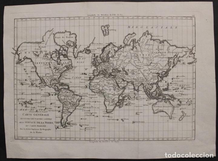 MAPA DEL MUNDO O PLANISFERIO, 1780. RIGOBERT BONNE (Arte - Cartografía Antigua (hasta S. XIX))