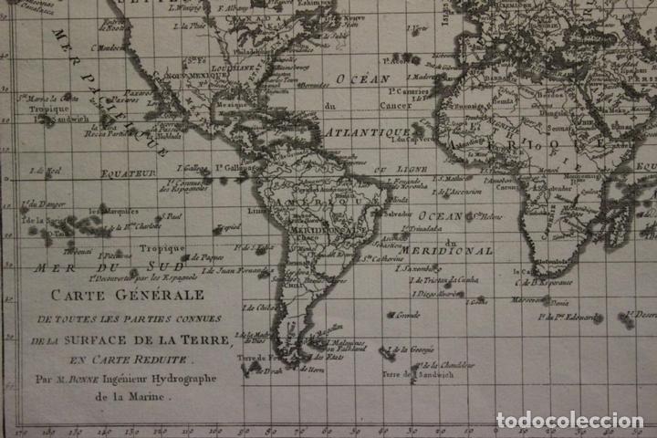 Arte: Mapa del mundo o planisferio, 1780. Rigobert Bonne - Foto 2 - 158682016