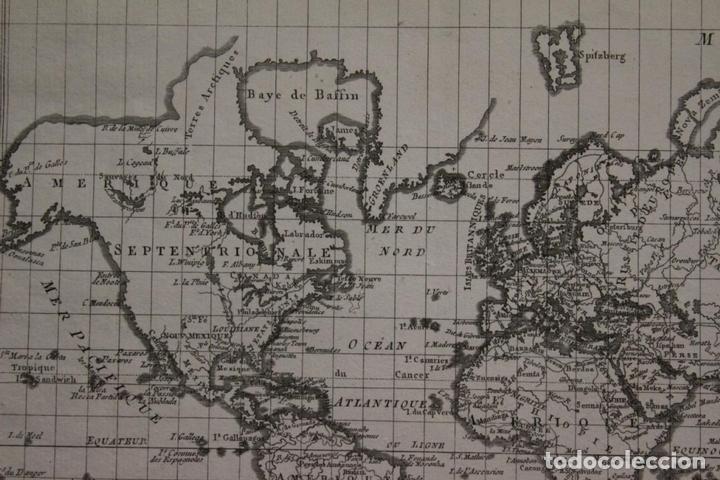 Arte: Mapa del mundo o planisferio, 1780. Rigobert Bonne - Foto 3 - 158682016