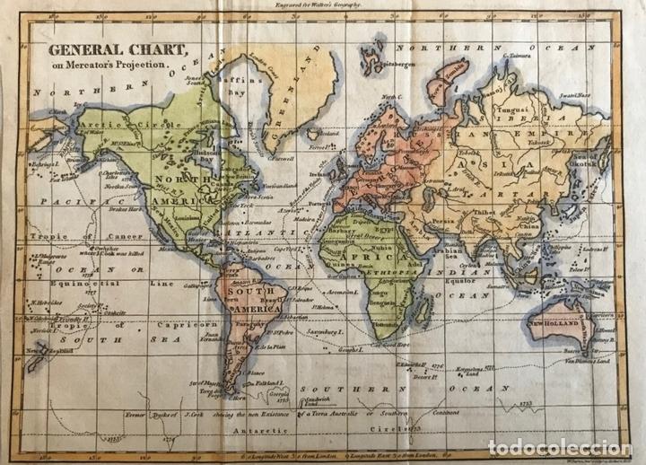 MAPA DEL MUNDO O PLANISFERIO, 1798. WALKER/DARTON (Arte - Cartografía Antigua (hasta S. XIX))