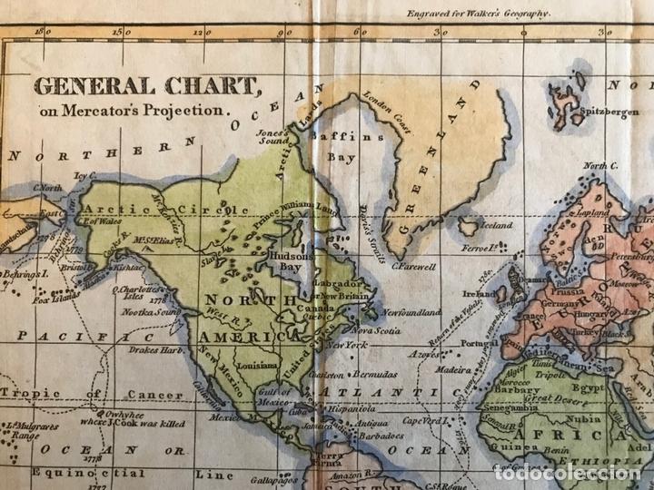 Arte: Mapa del mundo o planisferio, 1798. Walker/Darton - Foto 3 - 158790094