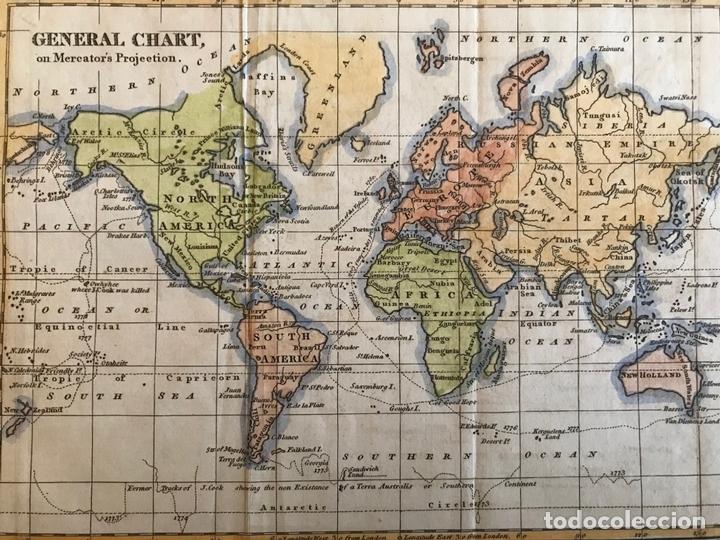 Arte: Mapa del mundo o planisferio, 1798. Walker/Darton - Foto 6 - 158790094