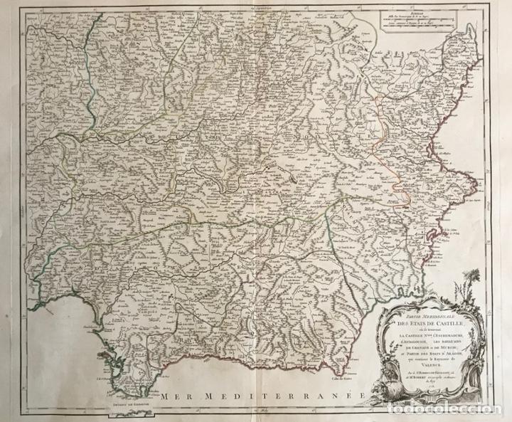 GRAN MAPA DEL SUDESTE DE ESPAÑA (ANDALUCÍA, MURCIA, CASTILLA,...), 1751. ROBERT DE VAUGONDY (Arte - Cartografía Antigua (hasta S. XIX))