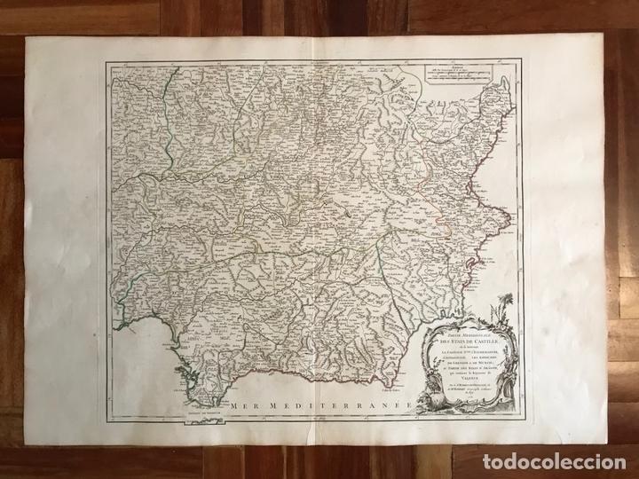 Arte: Gran mapa del Sudeste de España (Andalucía, Murcia, Castilla,...), 1751. Robert de Vaugondy - Foto 2 - 158834412
