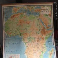 Arte: ANTIGUO MAPA DE ESCUELA DE GRAN TAMAÑO ÁFRICA MAPA FÍSICO 1,80 X 1,23 CM . Lote 159293370