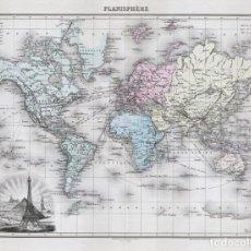 Art: MAPAMUNDI MERCATOR DE 1894 (PLANISFERIO). LITOGRAFÍA COLOREADA DE LACOSTE Y L. SMITH. ATLAS MIGEON. Lote 159319906