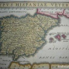 Arte: MAPA DE ESPAÑA ANTIGUA, CLUVER, ORIGINAL, 1661, AMSTERDAM, PERFECTO ESTADO Y COLOREADO. Lote 159680214