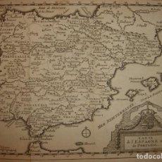 Arte: MAPA DE ESPAÑA 1715, ORIGINAL, LEIDEN, VAN DER AA, ESPLÉNDIDO ESTADO. Lote 159680634
