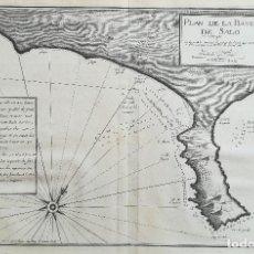 Arte: MAPA CARTA NAUTICA DE SALOU TARRAGONA - AYROUARD - AÑO 1732. Lote 159773918