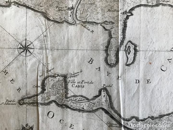 Arte: Mapa de la bahía y puerto de Cádiz e inmediaciones (España), 1693. Nicolas de Fer - Foto 3 - 159839514
