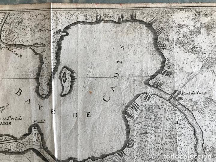 Arte: Mapa de la bahía y puerto de Cádiz e inmediaciones (España), 1693. Nicolas de Fer - Foto 4 - 159839514
