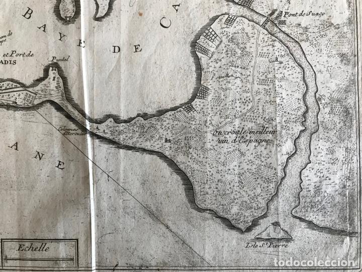 Arte: Mapa de la bahía y puerto de Cádiz e inmediaciones (España), 1693. Nicolas de Fer - Foto 5 - 159839514