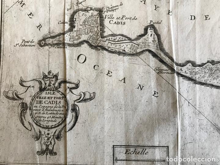 Arte: Mapa de la bahía y puerto de Cádiz e inmediaciones (España), 1693. Nicolas de Fer - Foto 6 - 159839514
