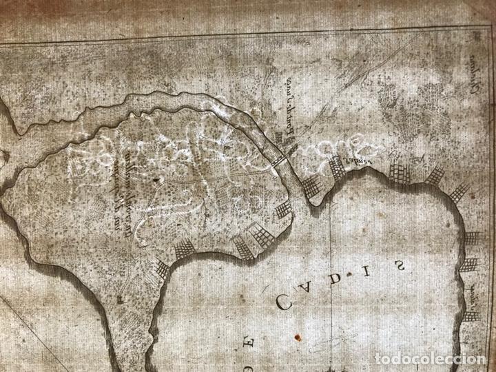 Arte: Mapa de la bahía y puerto de Cádiz e inmediaciones (España), 1693. Nicolas de Fer - Foto 9 - 159839514