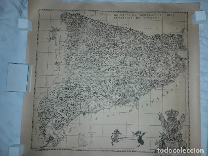 MAPA GRABADO NUEVA DESCRIPCIÓN GEOGRAPHICA DEL PRINCIPADO DE CATALUÑA 1720 (Arte - Cartografía Antigua (hasta S. XIX))