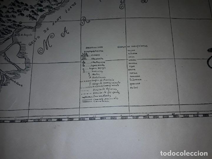 Arte: Mapa grabado Nueva Descripción Geographica del Principado de Cataluña 1720 - Foto 5 - 160163146