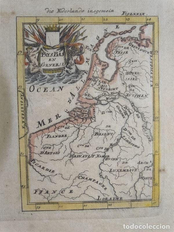 MAPA DE BÉLGICA Y HOLANDA (EUROPA), 1650. MALLET (Arte - Cartografía Antigua (hasta S. XIX))