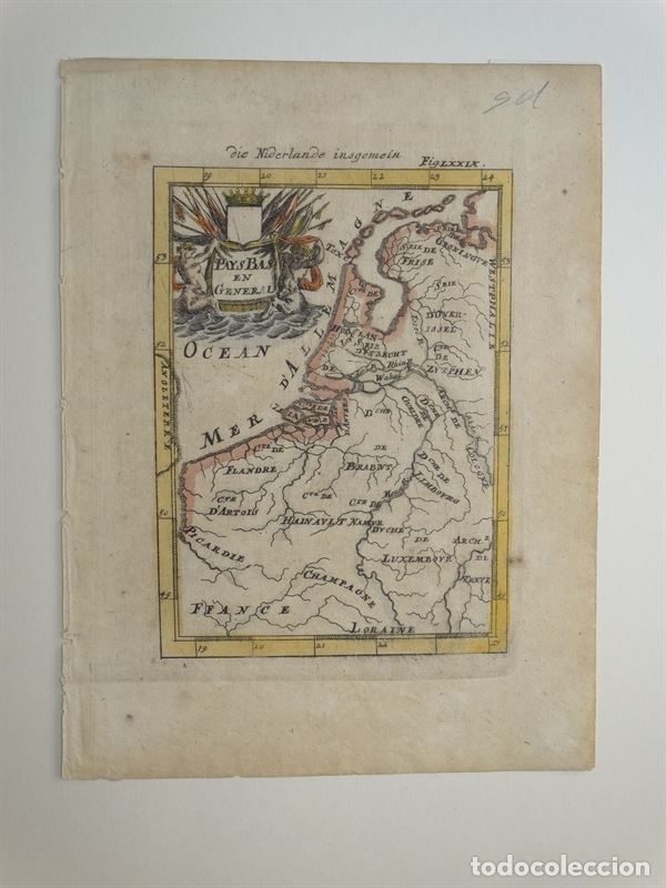 Arte: Mapa de Bélgica y Holanda (Europa), 1650. Mallet - Foto 4 - 160516833