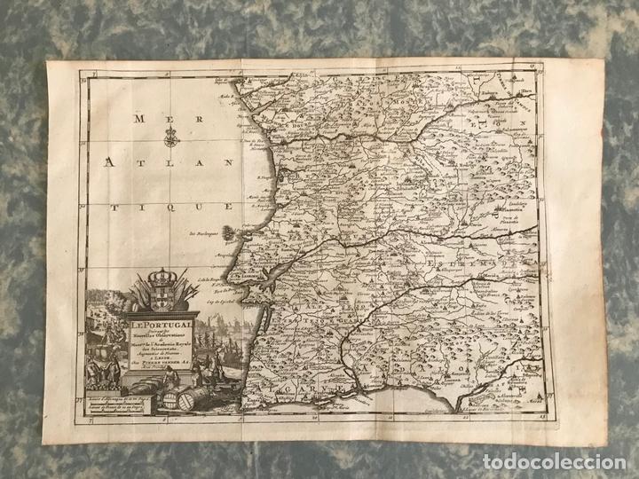 Arte: Mapa de Portugal y occidente de España, 1648. Van der Aa - Foto 2 - 160740377