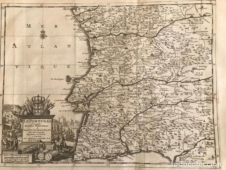 Arte: Mapa de Portugal y occidente de España, 1648. Van der Aa - Foto 3 - 160740377