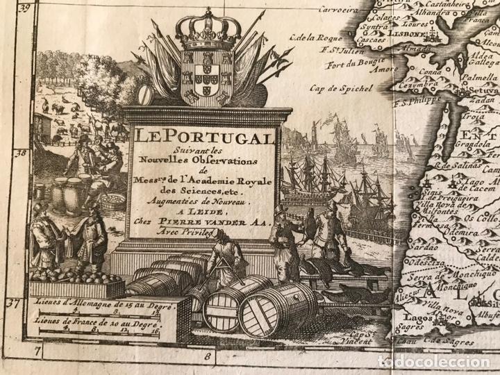 Arte: Mapa de Portugal y occidente de España, 1648. Van der Aa - Foto 5 - 160740377